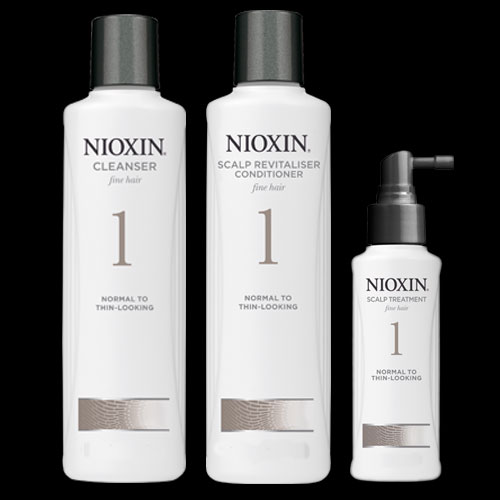 Image of Nioxin System 1 Cleanser 300ml Revitaliser 300ml Treatment 100ml Pack